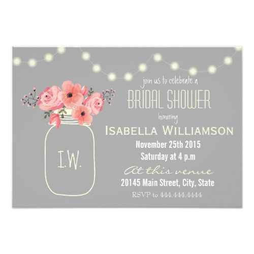 Watercolor Flowers Mason Jar Bridal Shower Card