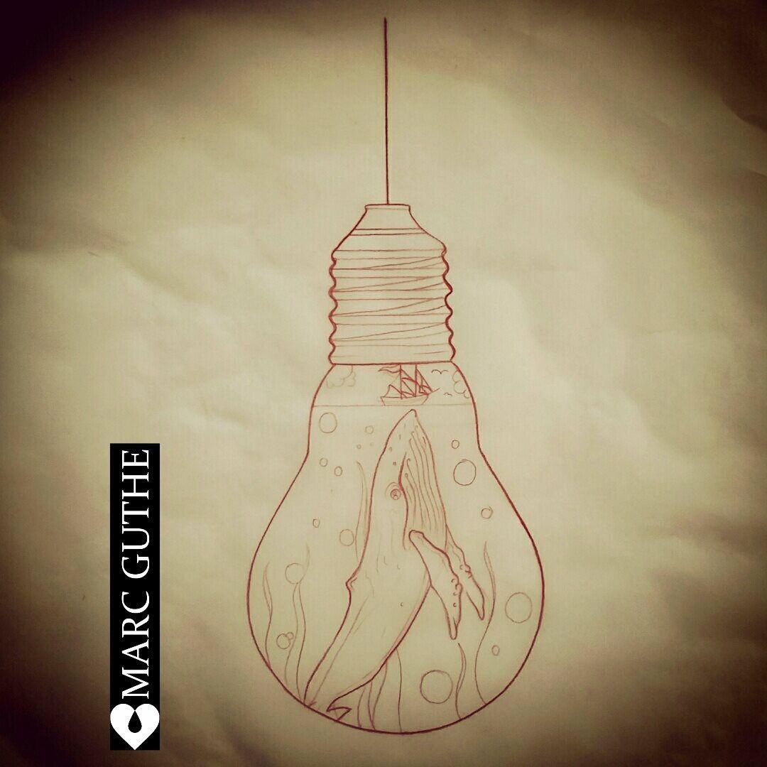 light bulb whale tattoo tattoo pinterest tattoo ideen zeichnungen und zeichnen. Black Bedroom Furniture Sets. Home Design Ideas