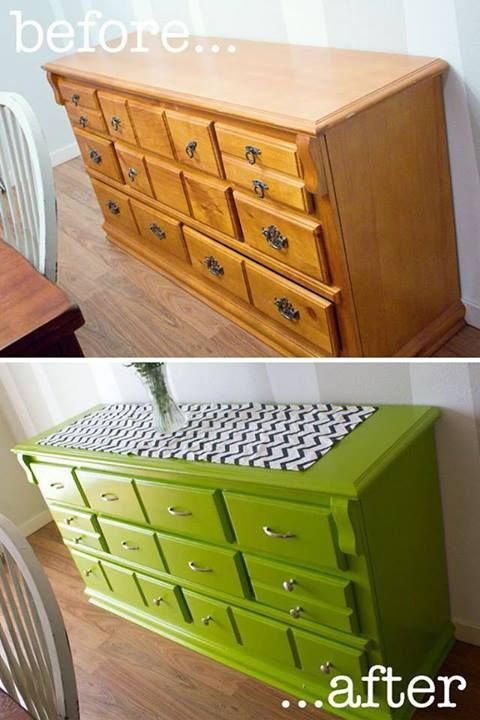 How to refinish furniture without sanding. So glad I found this. I hate sanding! Instructions : http://icreatewithlove.blogspot.com/2012/01/my-new-green-storage-solution.html