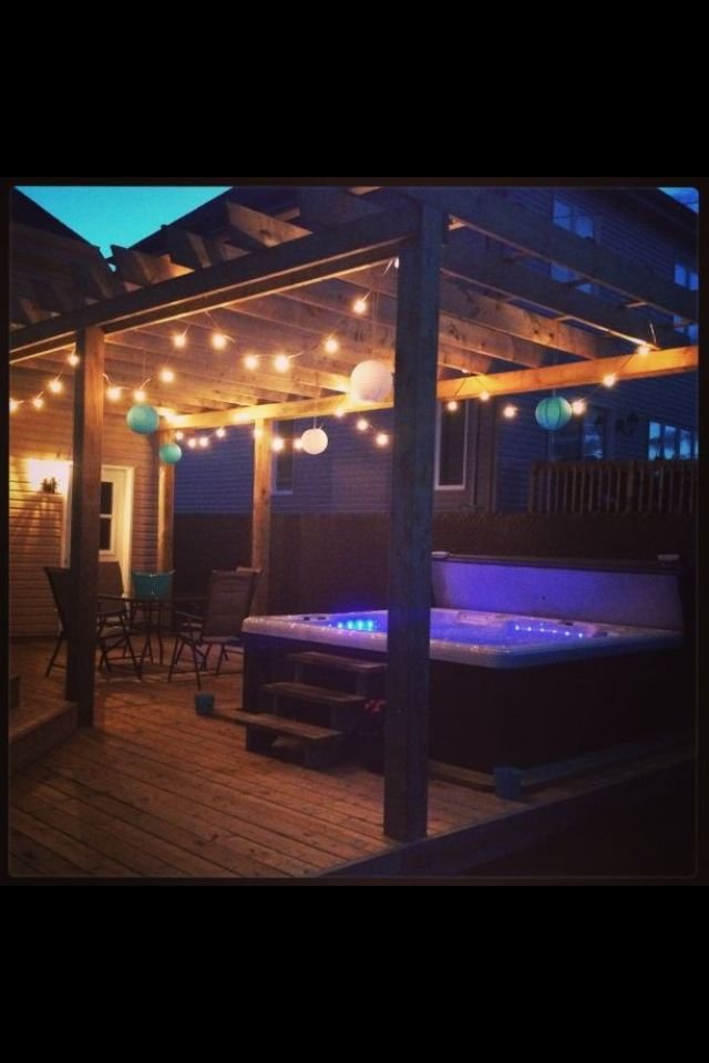 Our Actual Backyard Pergola Lights Over Hottub Cozy