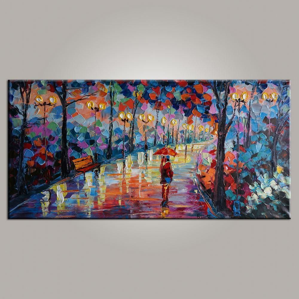 Modern art painting for sale canvas art living room wall art forest park painting contemporary art abstract art
