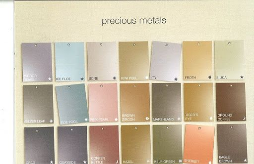Martha Stewarts Precious Metals Paint Color Chart Exclusive To