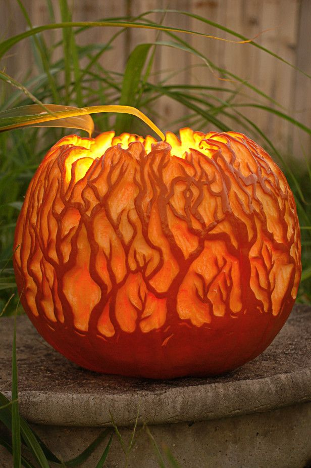 Glowing Forest Pumpkin The Coolest Carving Ideas Photos