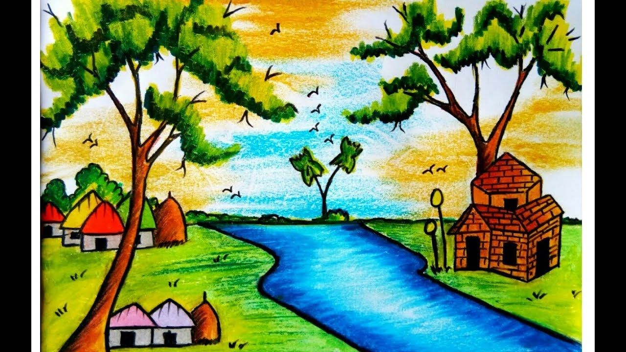 Nature Colour Drawing Image How To Draw A Scenery Of Nature With