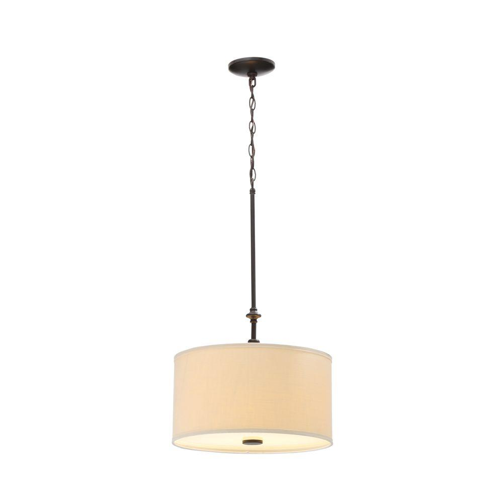Quincy 2-Light Oil-Rubbed Bronze Drum Pendant with Off White Linen Shade-ES4762OB4 - The Home Depot
