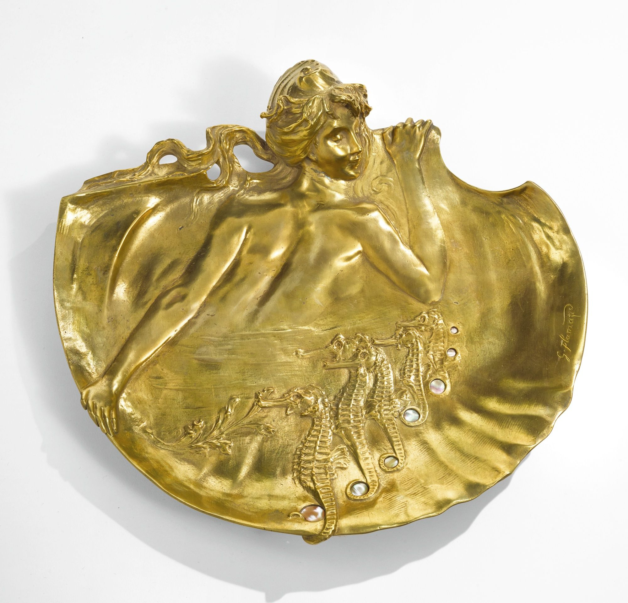 Georges Flamand  WALL PLAQUE  signed G. Flamand  gilt bronze and mother of pearl  circa 1900