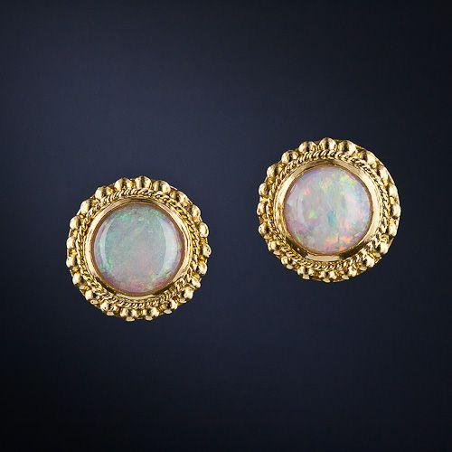 Opal Ear Studs in 22 Karat Gold