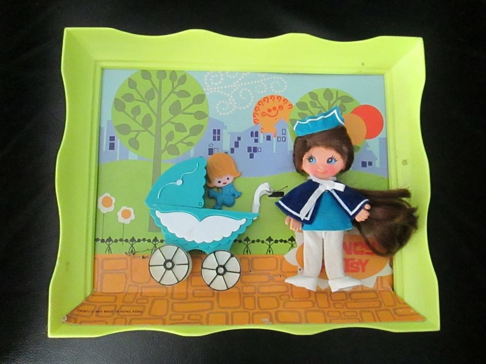 Vintage Flatsy Doll Nurse Nancy In Picture Frame With Baby