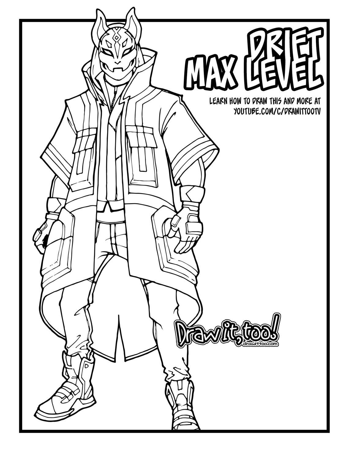 How to Draw Max Level Drift  Fortnite Coloring Pages  Coloring