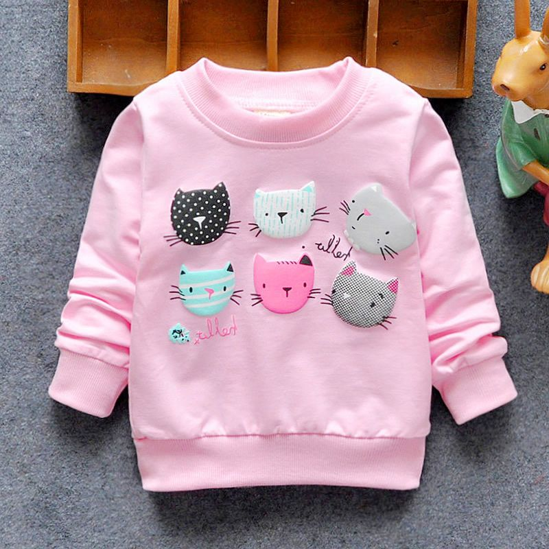 2016 New Arrival Baby Girls Sweatshirts Winter Spring Autumn sweater cartoon  6 Cats long sleeve T-shirt Character kids clothes ea7607386830