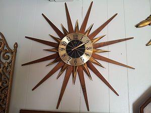 Vintage Starburst Sunburst Welby Mid Century Atomic Era Wall Clock Elgin Germany