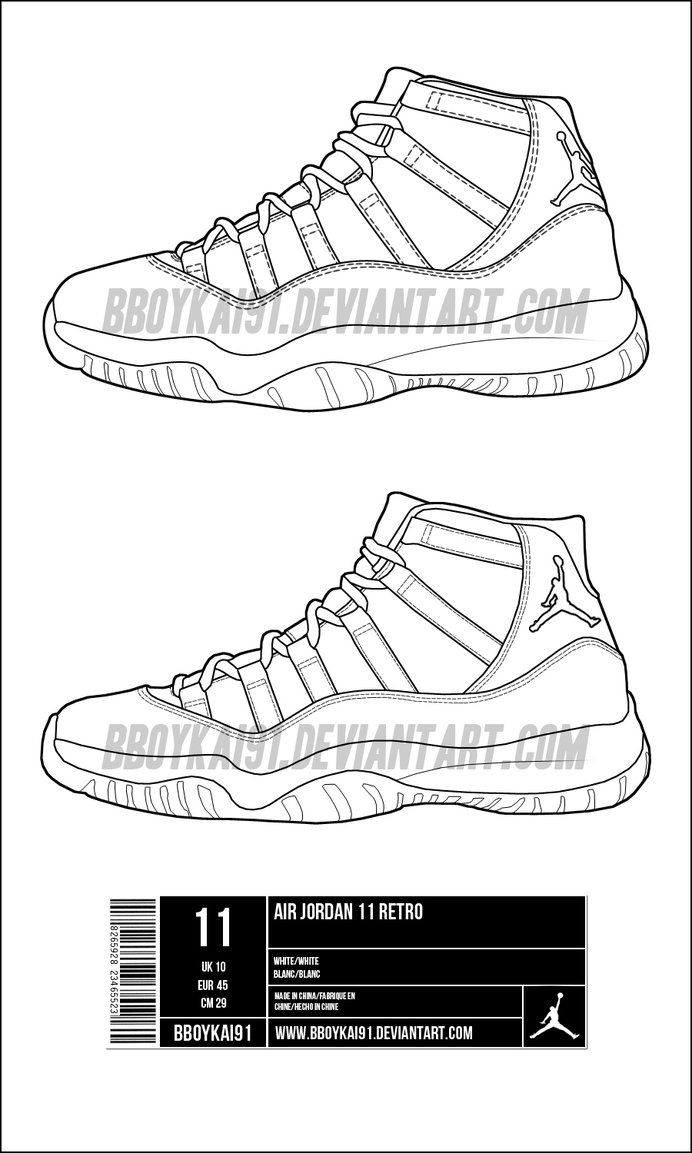 Jordan 11 Coloring Page : jordan, coloring, Air_jordan_11_template_by_bboykai91-d3htmqd.jpg, (692×1153), Template,, Shoes, Sneakers, Jordans,, Sketches
