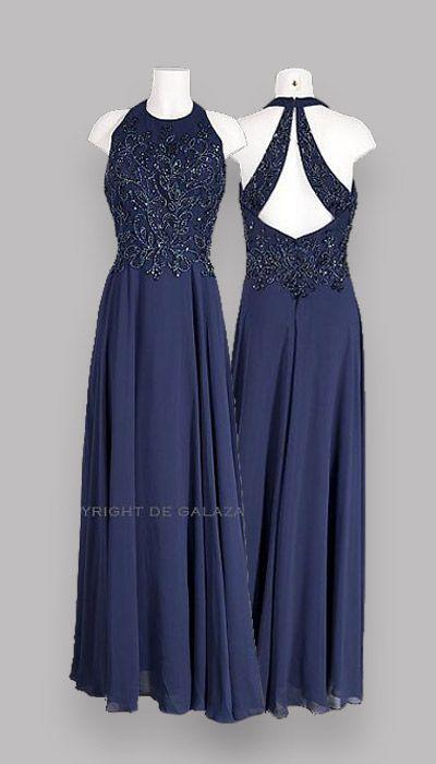 275c417c35580c Lange jurk met een fantastische rug! Donker blauwe promdress ...