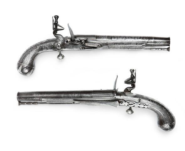 A pair of Scottish 25-bore all-metal flintlock belt pistols