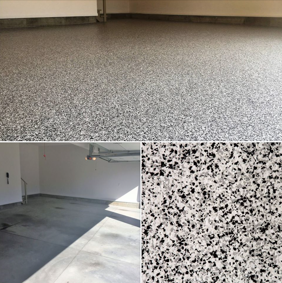 One Of The Garage Floor Co S Before And Afters Using Cookies And Cream Epoxy Flake Over A White Base Amazing Garage Floor Epoxy Floor Metallic Epoxy Floor