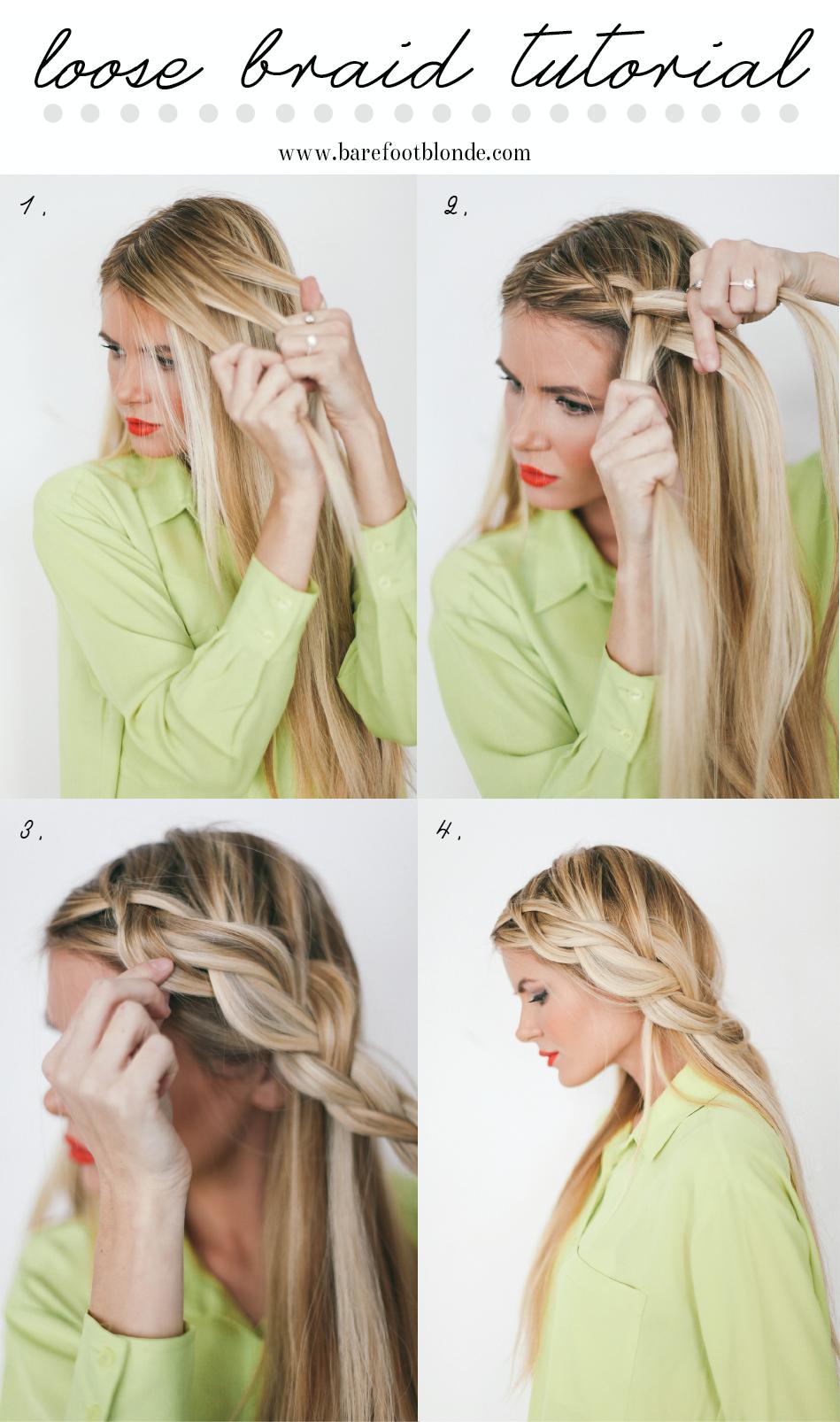 Loose braid tutorial hair braid bun hair ideas hairstyles messy bun