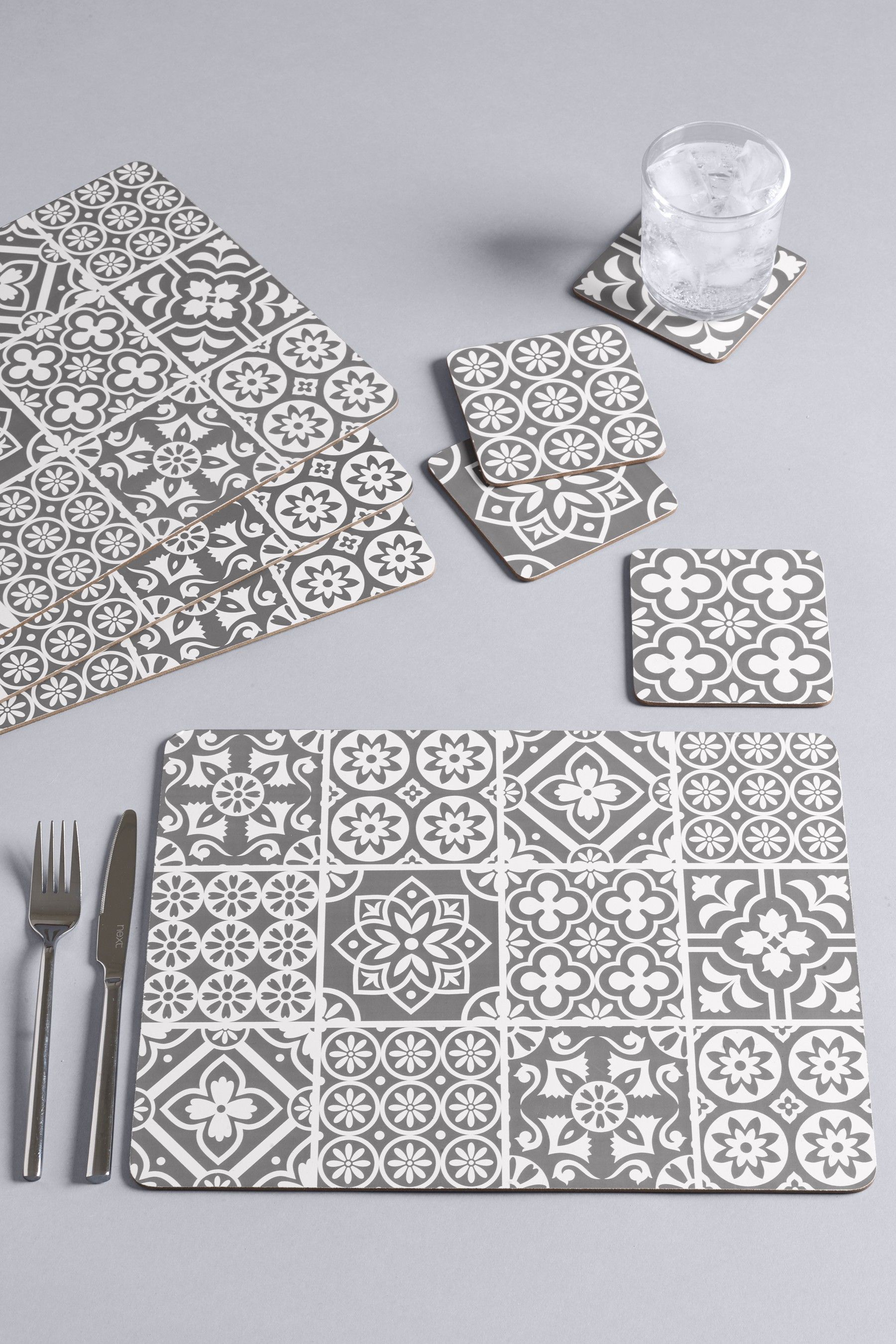 Next Set Of 4 Tile Print Placemats And Coasters Grey Tile Print Grey Placemats Placemats