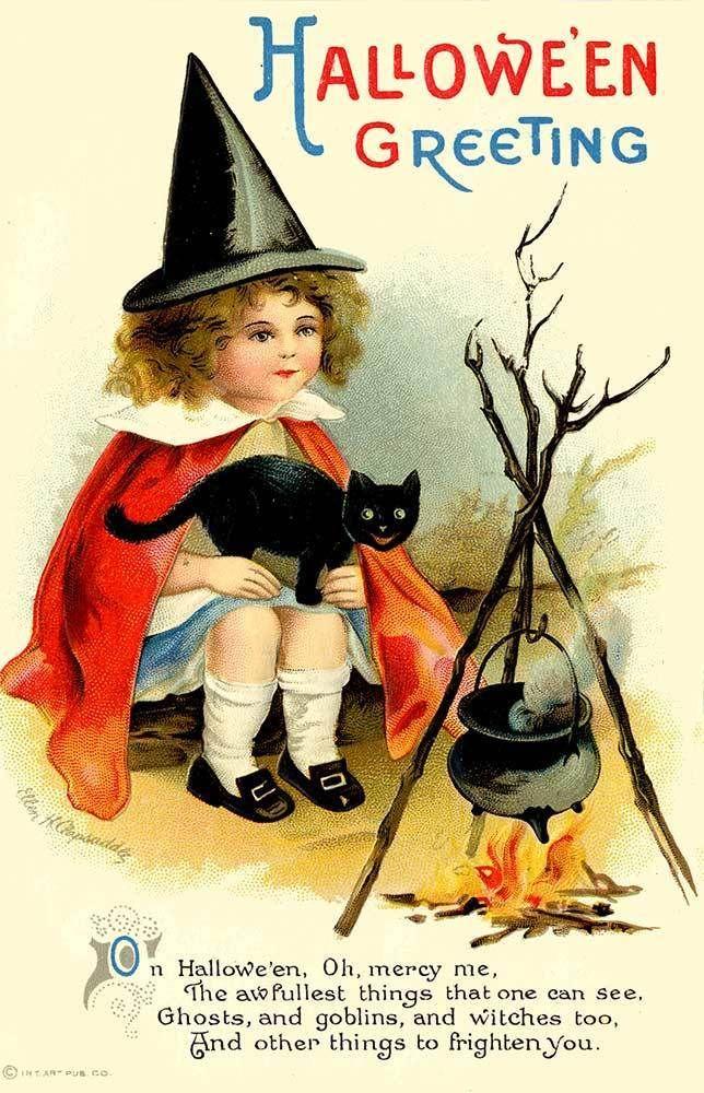 Halloween Clapsaddle Witch Black Cat Postcard Magnet | eBay