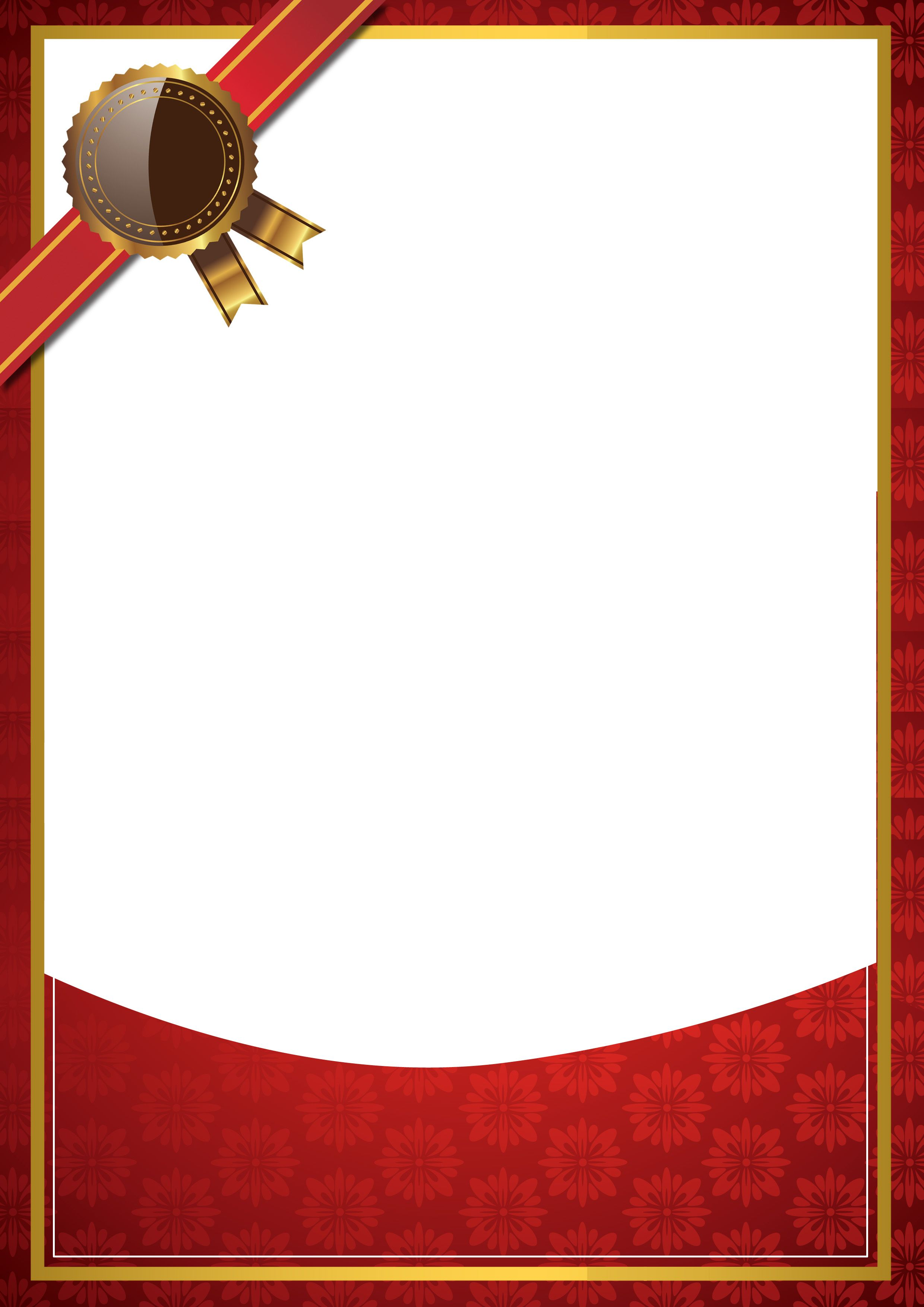 Simple Red Background Border Certificate in 2020 ...Red Graduation Borders