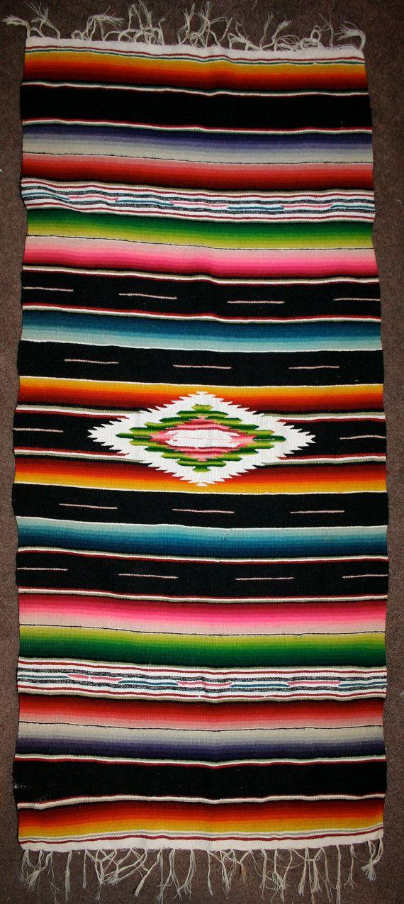 Vintage 40s 50s Mexican Saltillo Serape Rug By AmbulantBazar, $49.00