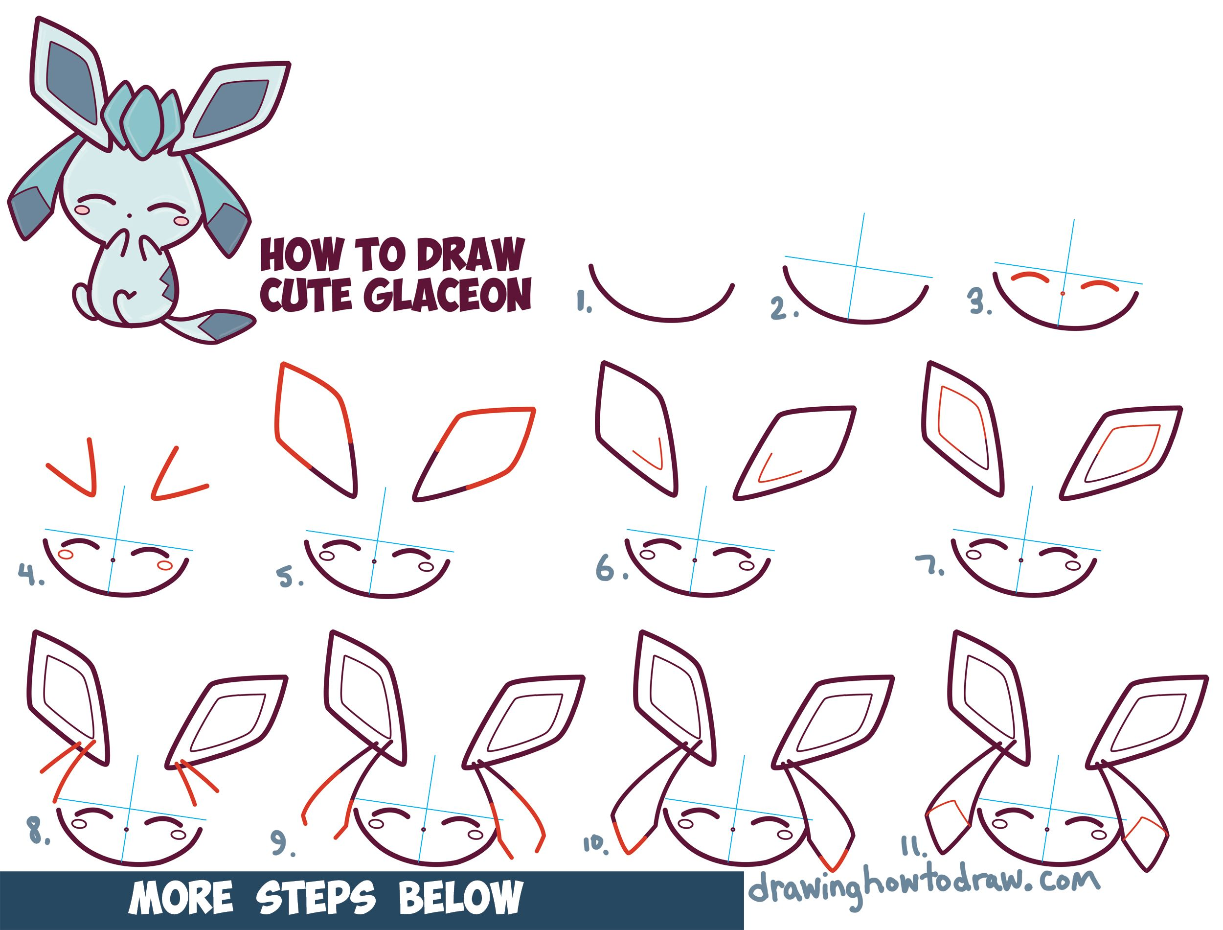 How To Draw Cute Kawaii Chibi Glaceon From Pokemon In Easy Step By Step  Drawing Tutorial