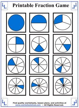 picture regarding Printable Fraction Games identify Pin upon Portion Worksheets
