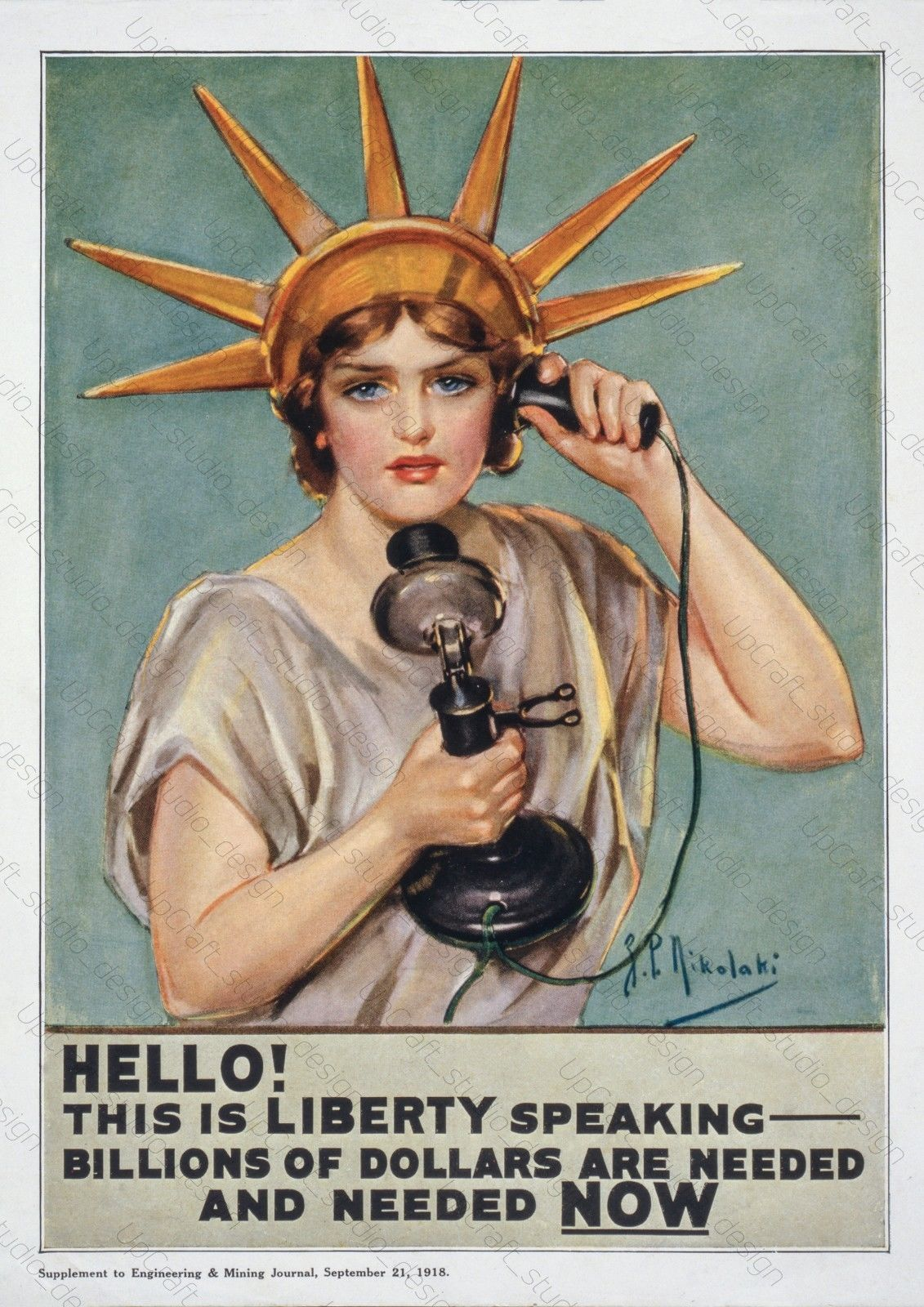 Hello this is liberty Vintage War information Poster reproduction