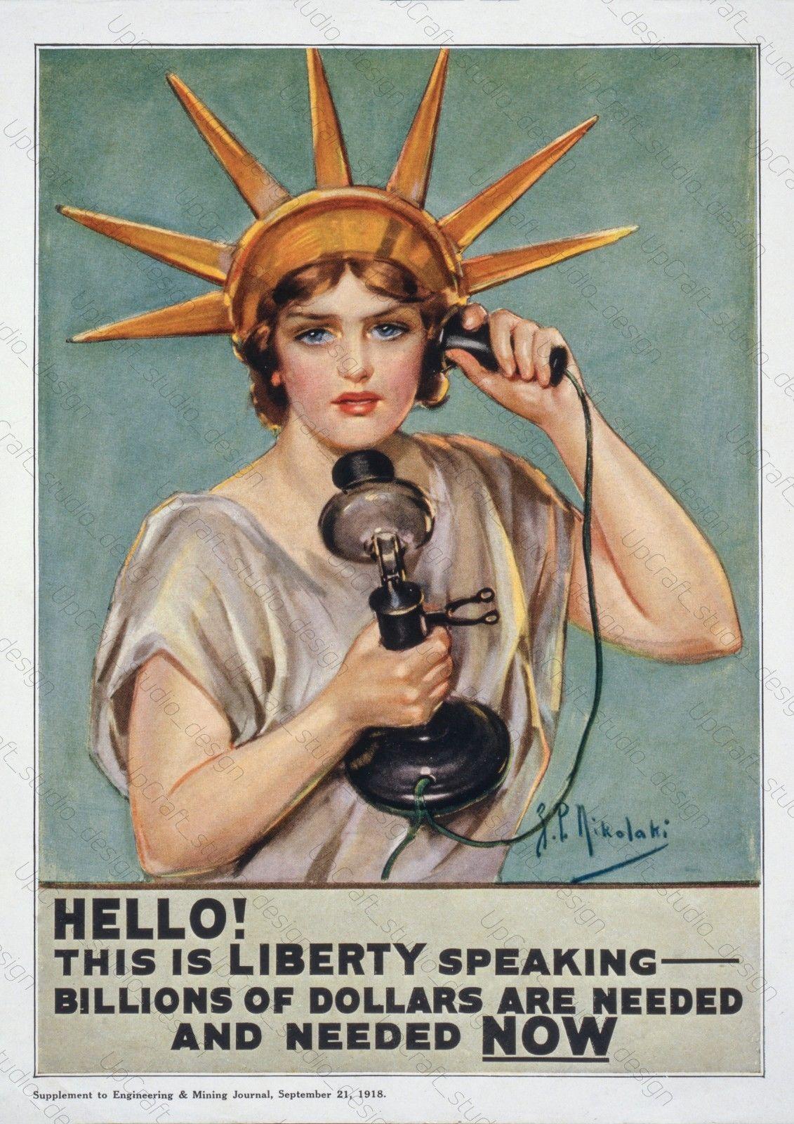 Ww1 Propaganda Poster American Liberty Year