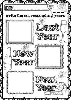 New Year Maths and ELA funny worksheets (pre-K/1st grade