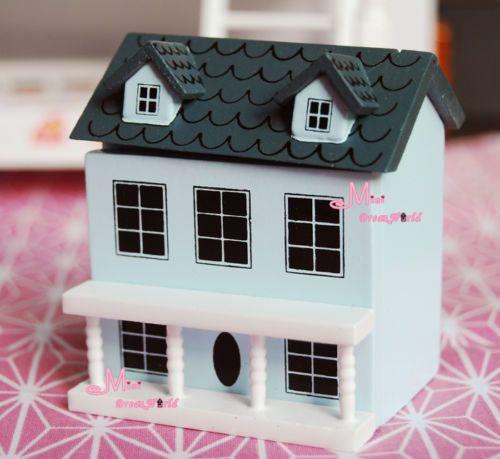 1:12 Wood Miniature Villa Mini Pink Doll House Door Open for Dollhouse Kids Gift