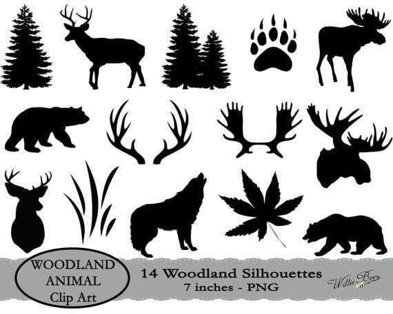 Deer Svg Moose Svg Woodland Animal Clipart Tree Clipart Hunting Svg Black Bear Deer And Moose Antlers Wolf Image Digital Download Moose Silhouette Animal Silhouette Animal Clipart