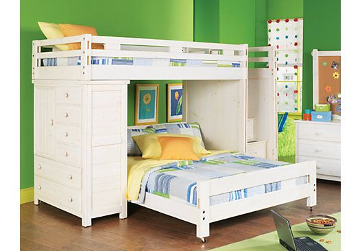 Picture Of Creekside White Wash Twin Full Step Bunk Bedroom W Chest From Girls Bedroom Sets Furniture Kids Bunk Beds Kid Beds Bunk Beds