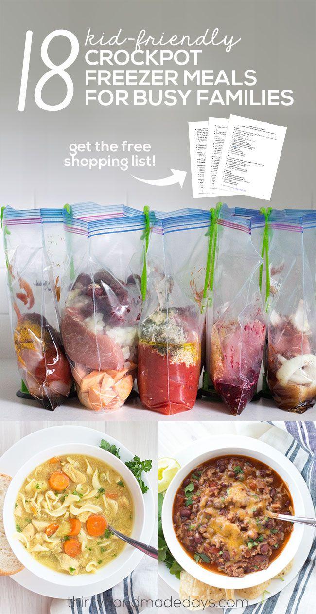 18 Kid Friendly Crockpot Freezer Meals for Busy Families #crockpotmealprep