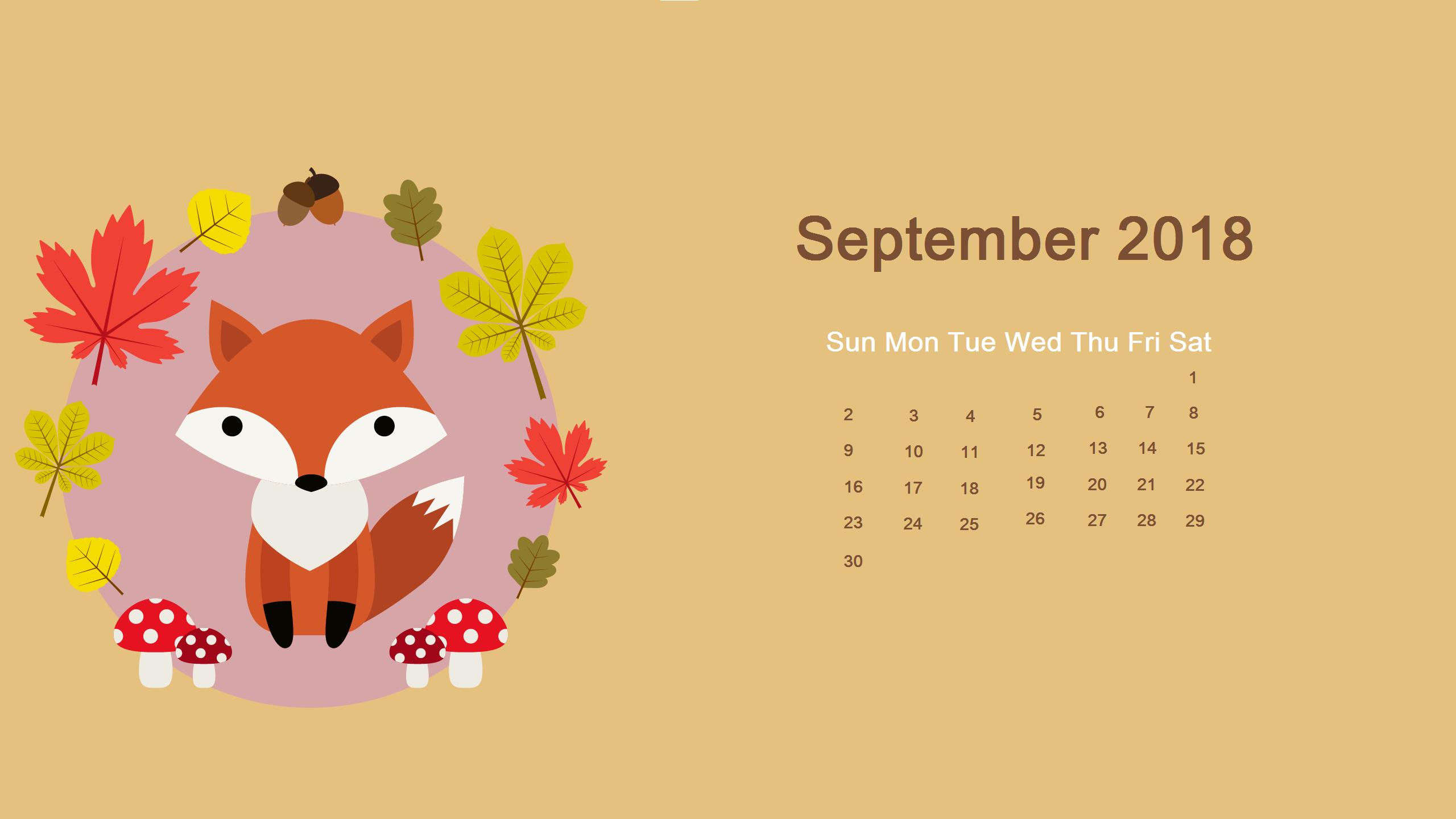 Cute Desktop September Calendar