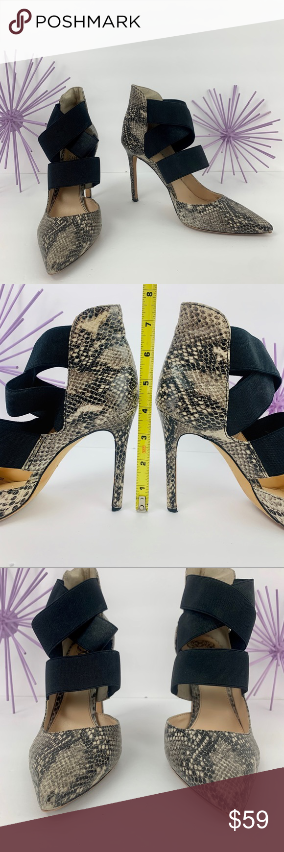 Vince Camuto / Cream Gray Black Snake Criss Cross Vince Camuto VC-NIGEL, black elastic Criss Cross front ankle strap. Cream, Black ,Gray Faux Snake design. Leather upper. Man made sole. Pointed toes helps to elongate the legs and give High Fashion look. NOTE: Front tip of the left shoe is raised a bit, Refer to photo.  Size 8M Heels 4in.  #0707 Vince Camuto Shoes Heels