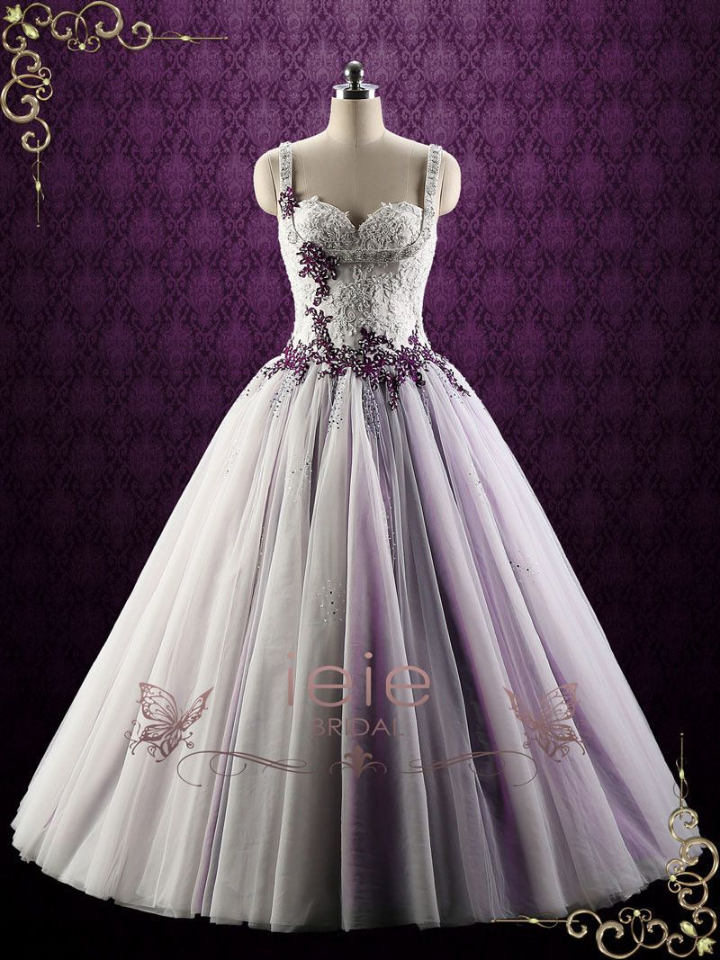 Purple Lace Ball Gown Style Wedding Dress Violet Ball Gowns