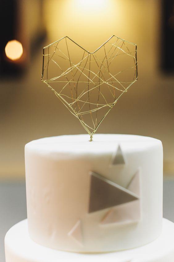 Cute Gold Geo Heart Cake Topper For A Geometric Wedding Cake