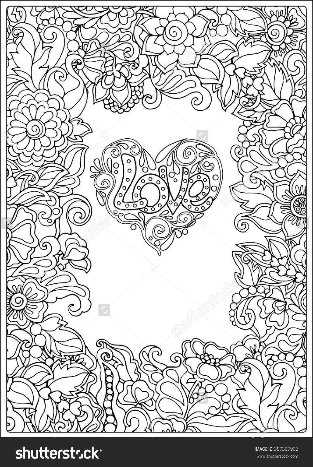 Decorative Love Heart With Flowers. Valentines Day Card. Coloring ...