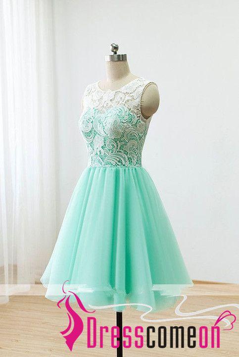 80868ed5e22 Short Lace Prom Dresses 2016 Ball Gown Mint Green Bridesmaid Dresses ...
