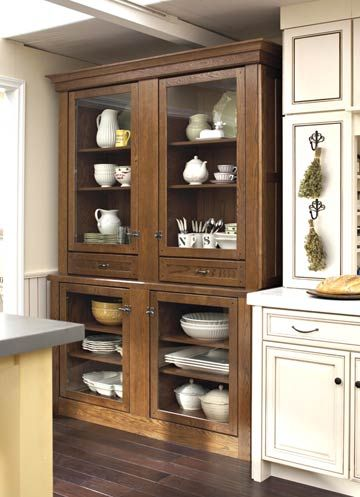 Gl Door Kitchen Hutch Doors On Both The Top And Bottom Of This Vintage Style Display Protect Fine China Its Amber Color Offsets