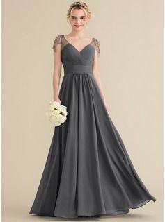 e8de07b0381 A-Line Princess V-neck Floor-Length Chiffon Evening Dress With Ruffle  Beading Sequins (017164905)