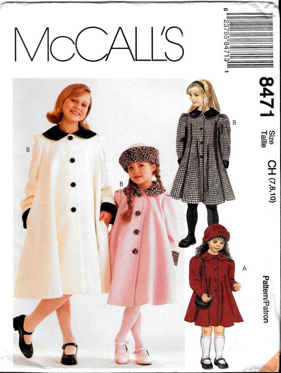 Girls Winter Coats McCall\'s Sewing Pattern 8741 by SammyJoPatterns ...