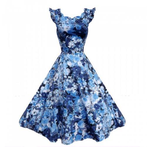 Hvit utsvingt kjole med blå blomster. Bølgekant øverst. Vanlig høy rygg bak. Glidelås i siden. Passer utmerket sammen med langt underskjørt. - Lengde fra skulder 100 cm. - Stoff 97% bomull, 3% elastan. Det er litt stretch i stoffet. - Størrelse XS-2XL (34-44). Finner du ikke størrelsen din i nedtrekksmenyen er den dessverre utsolgt. - Plagget er normal i størrelsen.
