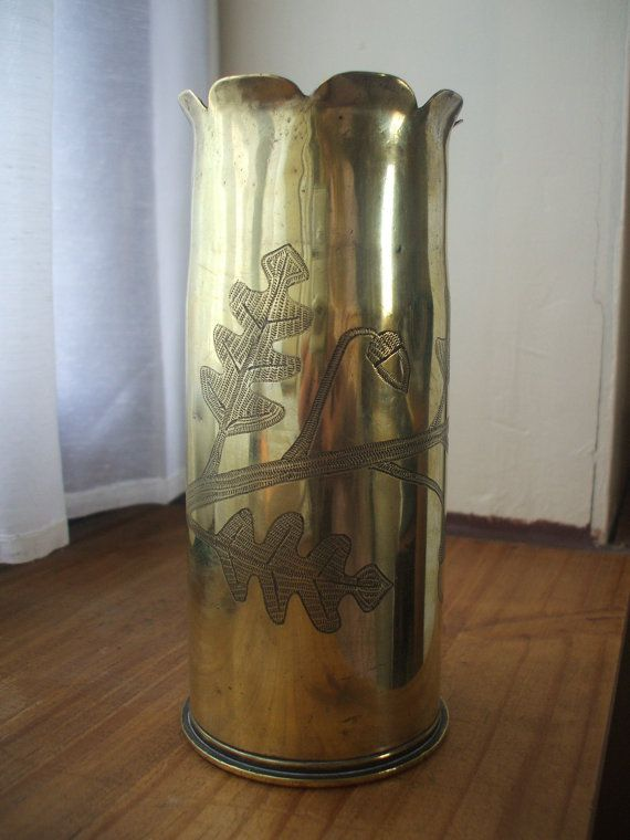 Trench Art Vase Brass by Mayennefinds on Etsy