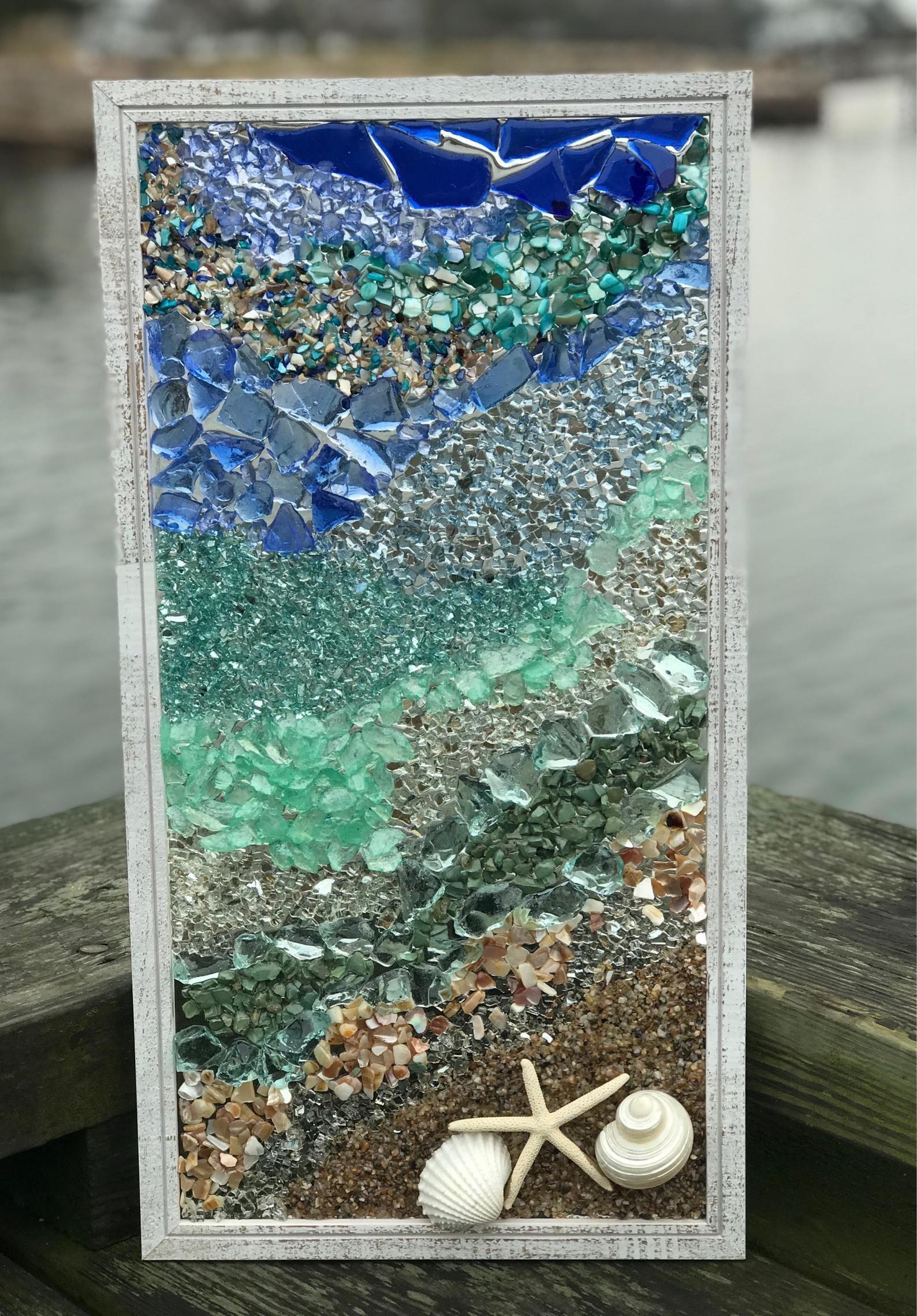 sea glass mosaic wall art