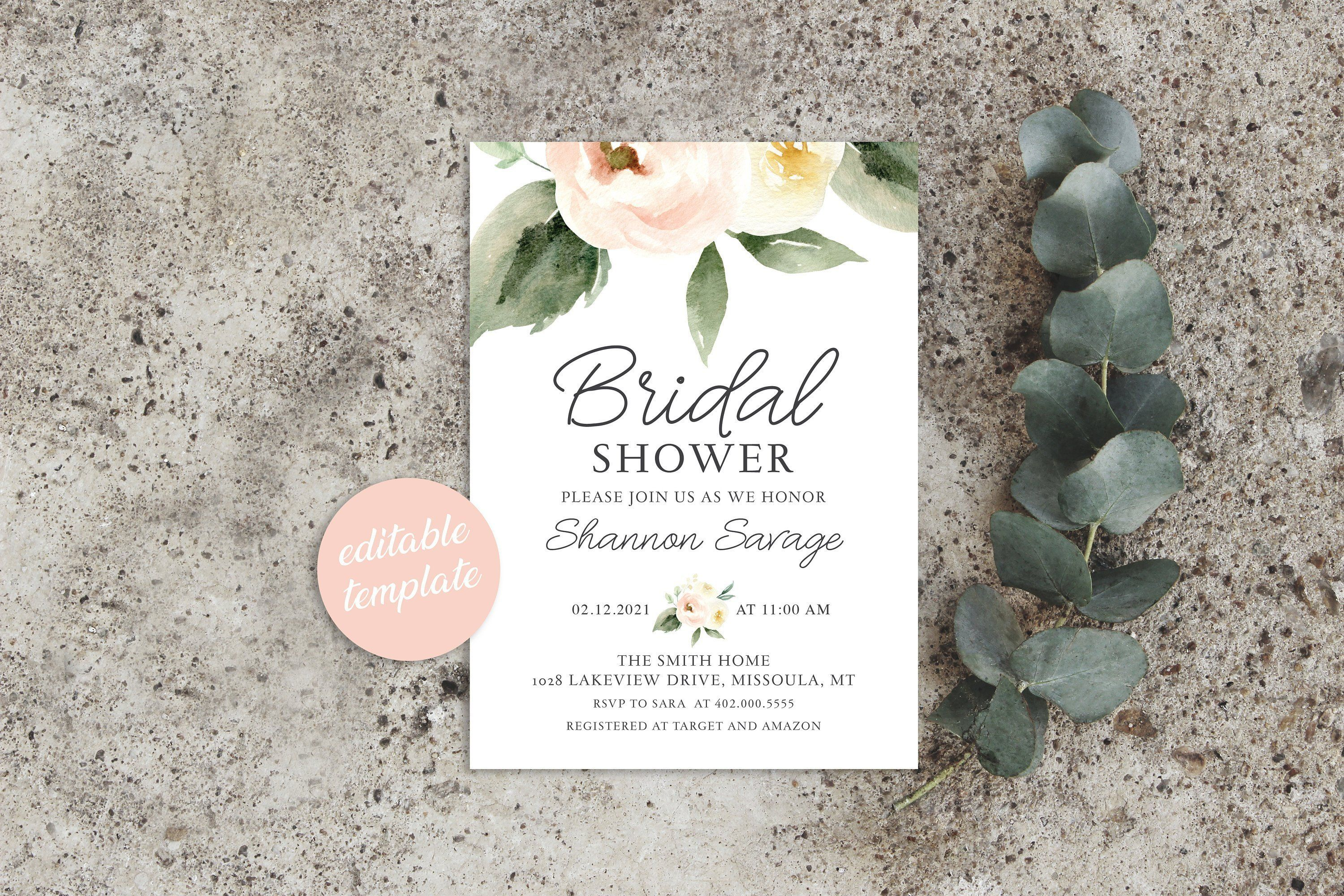 Blush Bridal Shower Invitation Template Bridal Shower Invitation