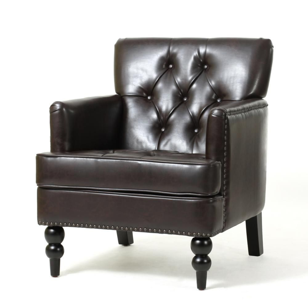 Noble House Malone Brown Leather Tufted Club Chair Leather Club