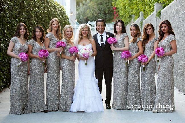 e7ac2ce5 Short Sleeve Beaded Sequins Grey Long Bridesmaid Dresses V Neck Cheap  Bridesmaid Gowns Silver Wedding Party
