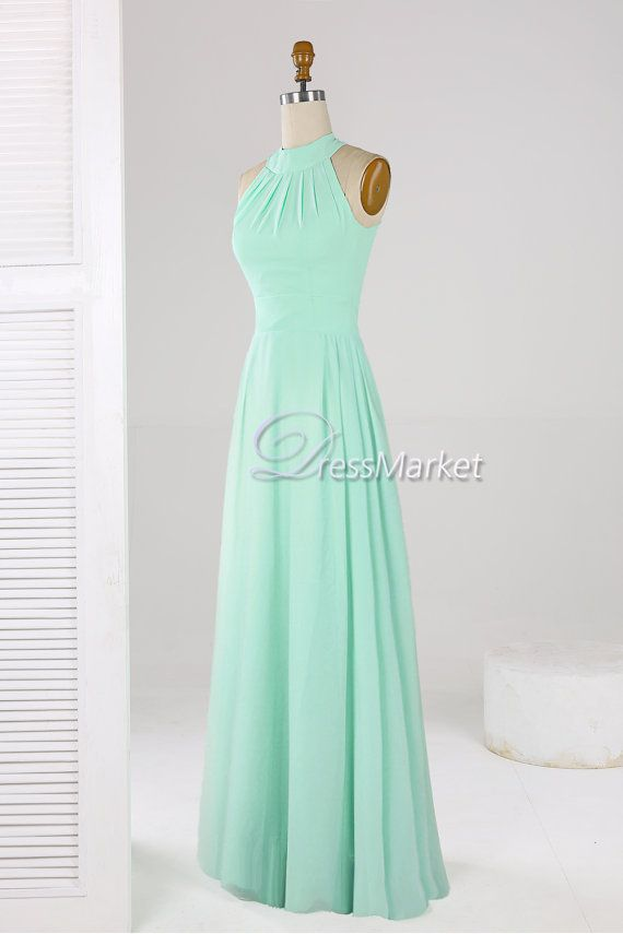 This simple mint green dress is made of chiffon.It can be simple ...
