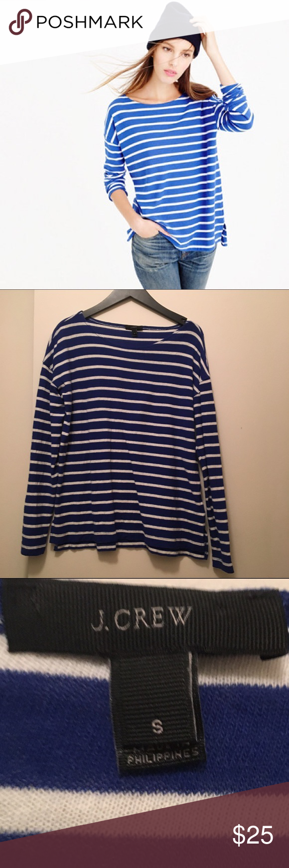 Jcrew deck stripe tee blue and white Great condition J. Crew Tops Tees - Long Sleeve